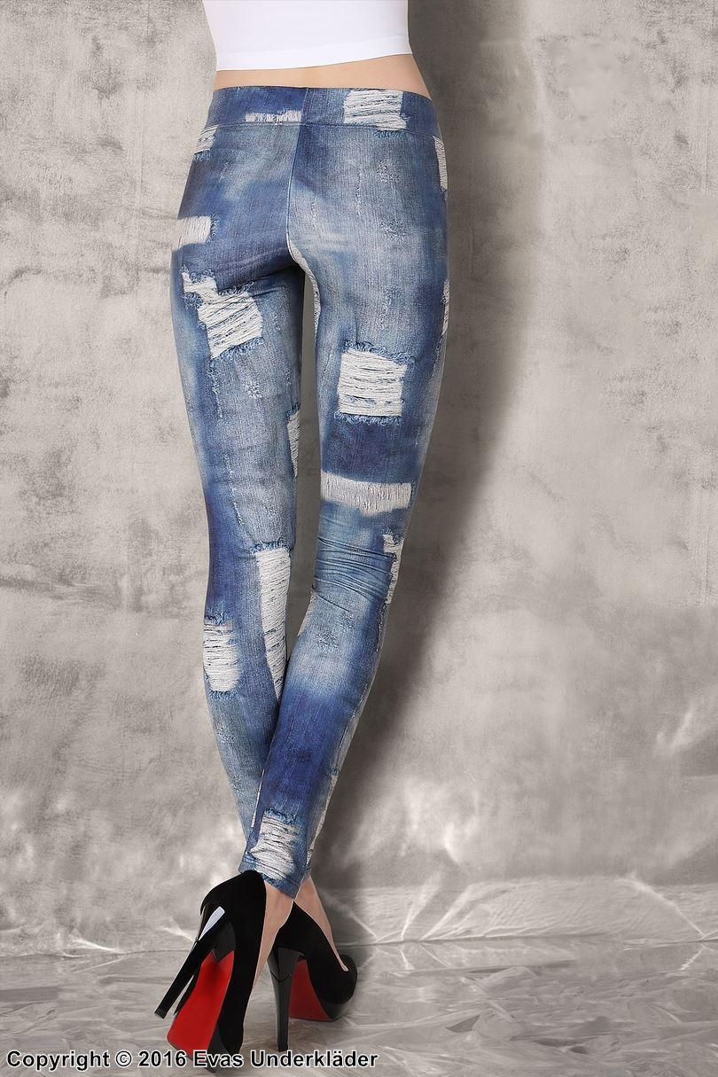 Jeans-leggings med slitet mönster